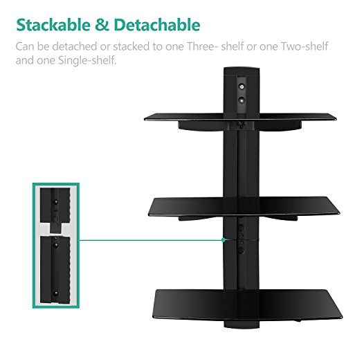 WALI-Floating-Wall-Mounted-Shelf-with-Triple-Strengthened-Tempered-Glasses-for-DVD-PlayersCable-BoxesGames-ConsolesTV-Accessories-Multiple-Combination-and-Function-3-Shelf-Black-0-0