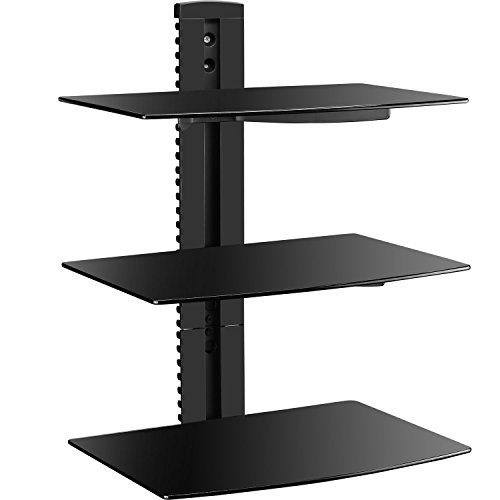 WALI-Floating-Wall-Mounted-Shelf-with-Triple-Strengthened-Tempered-Glasses-for-DVD-PlayersCable-BoxesGames-ConsolesTV-Accessories-Multiple-Combination-and-Function-3-Shelf-Black-0