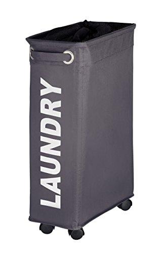 WENKO-3450115100-Laundry-bin-Corno-Grey-laundry-basket-capacity-1136-gal-Polyester-73-x-236-x-157-inch-Dark-grey-0