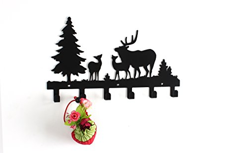 Wander-Agio-Deer-Tree-Forest-Elk-Cartoon-Animal-Metal-Wall-Mounted-Bag-Hanger-Coat-Rack-Clothing-Hooks-Hanging-Racks-Black-0-0
