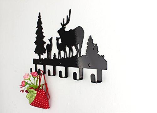 Wander-Agio-Deer-Tree-Forest-Elk-Cartoon-Animal-Metal-Wall-Mounted-Bag-Hanger-Coat-Rack-Clothing-Hooks-Hanging-Racks-Black-0-1