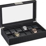 Watch-Box-for-Men-12-Slot-Luxury-Carbon-Fiber-Design-Display-Case-Large-Holder-Metal-Buckle-Black-0