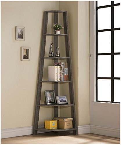 Weathered-Grey-Finish-Wood-Wall-Corner-5-Tier-Bookshelf-Bookcase-Accent-Etagere-0