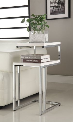 White-Finish-Chrome-Chair-Side-End-Snack-Table-0