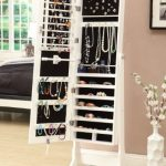 White-Mirrored-Jewelry-Cabinet-Armoire-W-Stand-Mirror-Rings-Necklaces-Bracelets-0-0