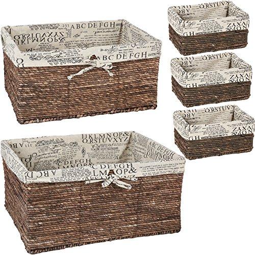 Wicker-Home-Decorative-Storage-Organizer-Baskets-5-Piece-Set-3-small-at-1025x6x5-Medium-155x12x65-Large-17x1325x7-Inches-0