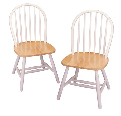 220 & Winsome Wood Windsor Chair in Natural and White Finish Set of 2