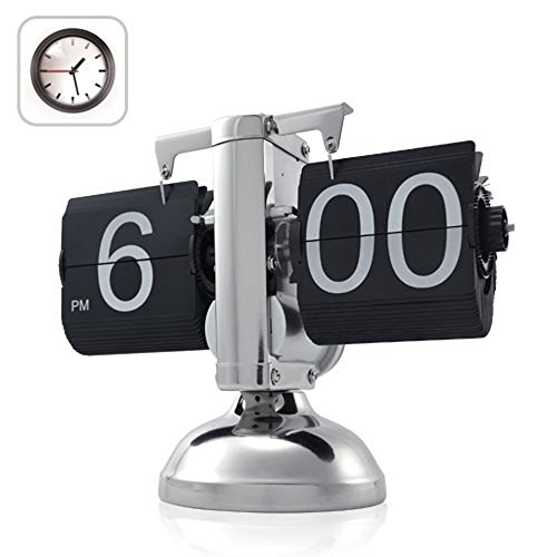 WoneNice-Retro-Flip-Down-Clock-Internal-Gear-Operated-Black-0-0