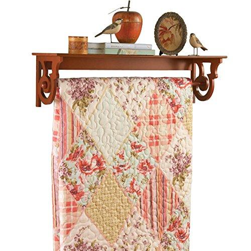Wooden-Quilt-Rack-With-Shelf-Walnut-0