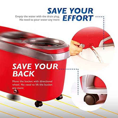 Woodsam-Magic-Spin-Mop-2017-UPGRADED-VERSION-Easy-Press-Mop-Bucket-Set-Stainless-Steel-Wringer-and-Cushion-Handle-360-Rotation-Liquid-Drain-Plug-0-1