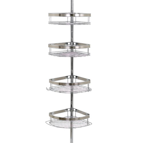 Zenna-Home-2133NS-Tension-Corner-Pole-Caddy-Chrome-0