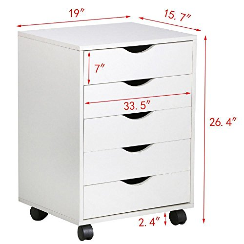 go2buy-5-Drawer-File-Storage-Cabinet-on-Removable-Caster-Wheels-White-0-0
