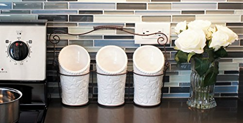 iEnjoyware-Kitchen-Tool-Crock-4-Pieces-3-Ceramic-Utensil-Holders-4-Dia-x-7-H-each-1-Metal-Caddy-White-Embossed-Design-0-0
