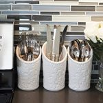 iEnjoyware-Kitchen-Tool-Crock-4-Pieces-3-Ceramic-Utensil-Holders-4-Dia-x-7-H-each-1-Metal-Caddy-White-Embossed-Design-0-1