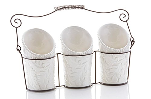iEnjoyware-Kitchen-Tool-Crock-4-Pieces-3-Ceramic-Utensil-Holders-4-Dia-x-7-H-each-1-Metal-Caddy-White-Embossed-Design-0
