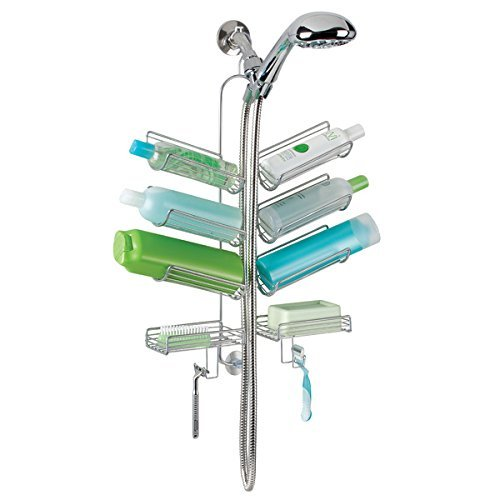 mDesign-Bathroom-Hose-Shower-Caddy-for-Shampoo-Conditioner-Soap-Silver-0-0