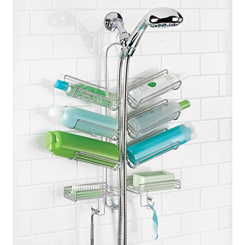mDesign-Bathroom-Hose-Shower-Caddy-for-Shampoo-Conditioner-Soap-Silver-0-1