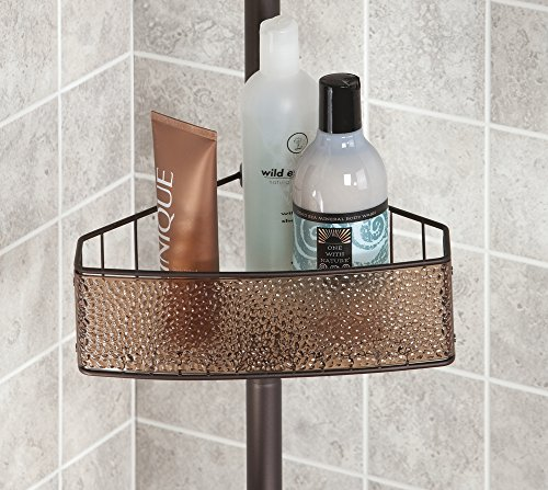 mDesign-Bathroom-Shower-Tension-Caddy-for-Shampoo-Conditioner-Soap-SandBronze-0-1