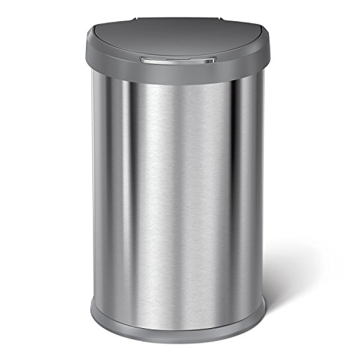 simplehuman-45L-Semi-Round-Sensor-Can-Touchless-Automatic-Trash-Can-2nd-Generation-Stainless-Steel-with-Plastic-Lid-45-L-118-Gal-0-0