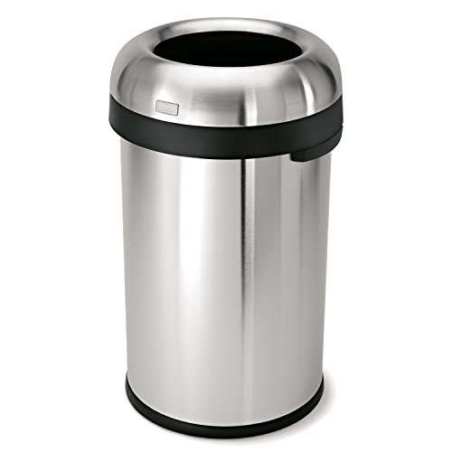 simplehuman-Bullet-Open-Trash-Can-Commercial-Grade-Heavy-Gauge-Stainless-Steel-80-L-211-Gal-0