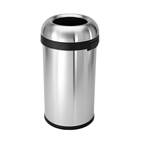 simplehuman-Bullet-Open-Trash-Can-Commercial-Grade-Stainless-Steel-60-L-159-Gal-0-0