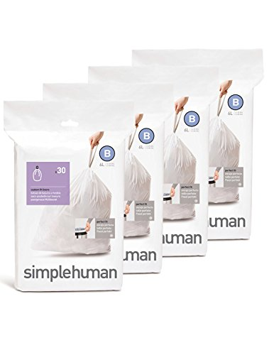 simplehuman-Custom-Fit-Trash-Can-Liner-B-6-Liters-16-Gallons-30-Count-Pack-of-4-0