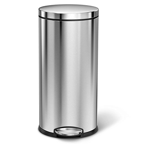 simplehuman-Round-Step-Trash-Can-Fingerprint-Proof-Brushed-Stainless-Steel-35-Liters-9-Gallons-0-0