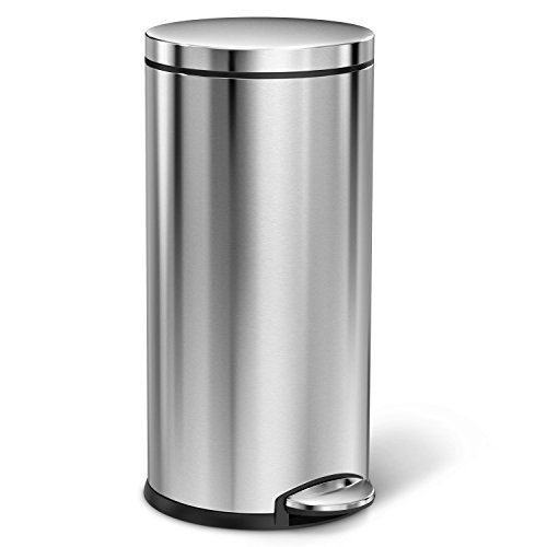 simplehuman-Round-Step-Trash-Can-Fingerprint-Proof-Brushed-Stainless-Steel-35-Liters-9-Gallons-0