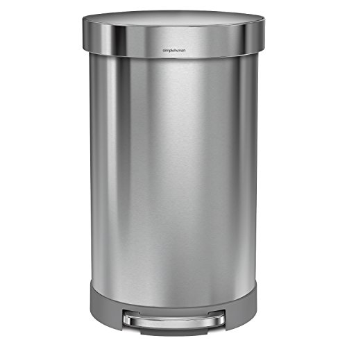 simplehuman-Semi-Round-Step-Trash-Can-with-Liner-Rim-Stainless-Steel-45-Liter-105-Gallon-0-0