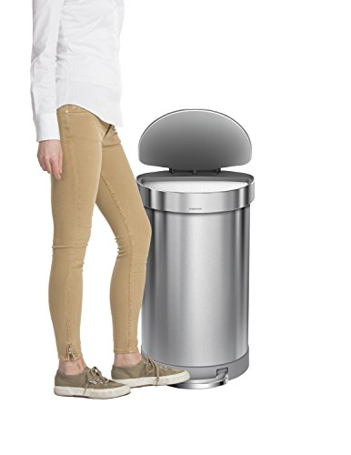 simplehuman-Semi-Round-Step-Trash-Can-with-Liner-Rim-Stainless-Steel-45-Liter-105-Gallon-0-1