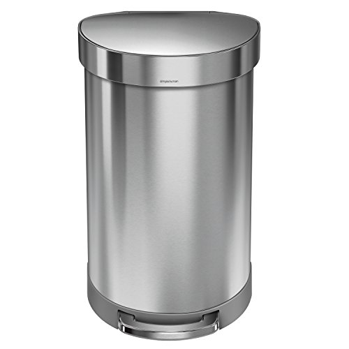 simplehuman-Semi-Round-Step-Trash-Can-with-Liner-Rim-Stainless-Steel-45-Liter-105-Gallon-0
