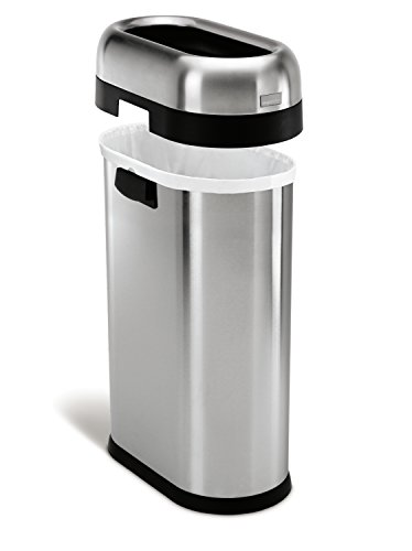 simplehuman-Slim-Open-Trash-Can-Commercial-Grade-Stainless-Steel-50-L-13-Gal-0-0