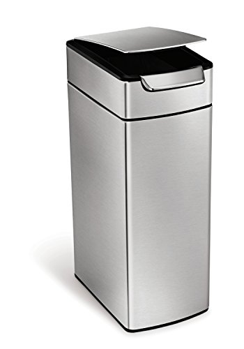 simplehuman-Slim-Rectangular-Touch-Bar-Trash-Can-Stainless-Steel-40-L-105-Gal-0-0