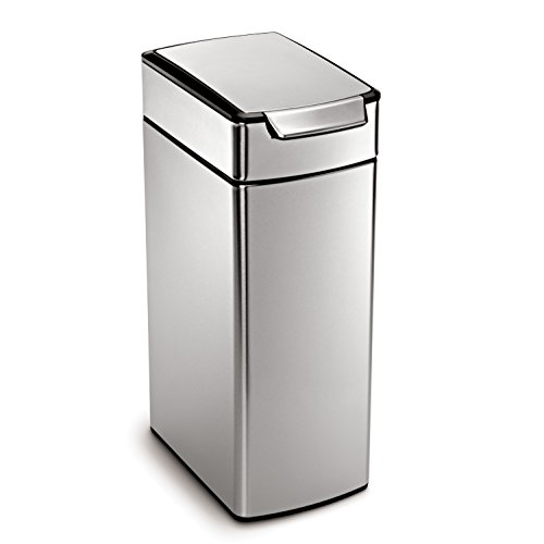 simplehuman-Slim-Rectangular-Touch-Bar-Trash-Can-Stainless-Steel-40-L-105-Gal-0