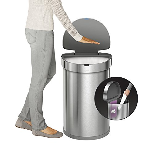 simplehuman-Stainless-Steel-Semi-Round-Sensor-Can-Touch-Free-Automatic-Trash-Can-with-Liner-Pocket-45-L-12-Gal-0-0