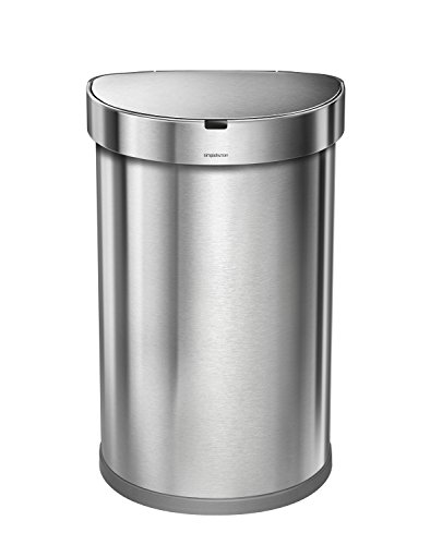 simplehuman-Stainless-Steel-Semi-Round-Sensor-Can-Touch-Free-Automatic-Trash-Can-with-Liner-Pocket-45-L-12-Gal-0